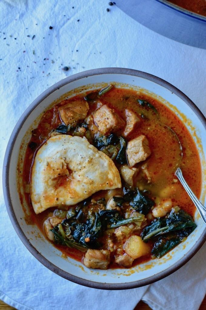 Spanish-Style Pork & Pierogy Stew