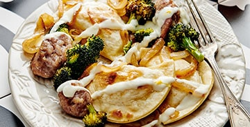 Pierogy and Kielbasa Sheet Pan Dinner