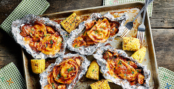 Grilled BBQ Chicken & Pierogy Packets