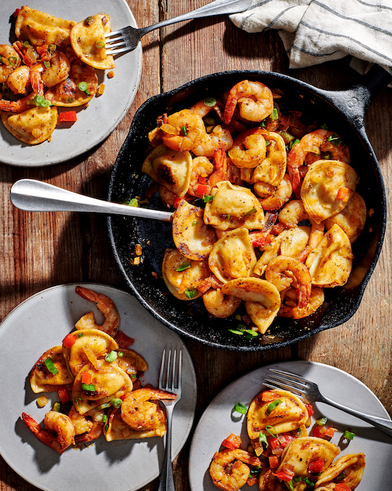Grilled Cajun Shrimp and Pierogy Skillet