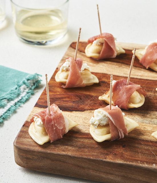 Goat Cheese & Prosciutto-Wrapped Mini Pierogies