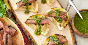 Grilled Pierogies with Steak & Chimichurri