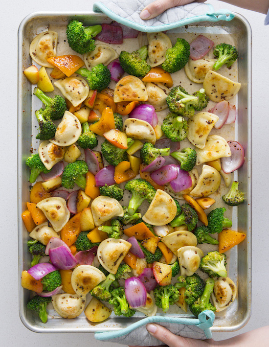 Easy Veggie and Mini Pierogy Sheet Pan Dinner