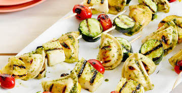Grilled Mediterranean Pesto Mini Pierogy Kabobs