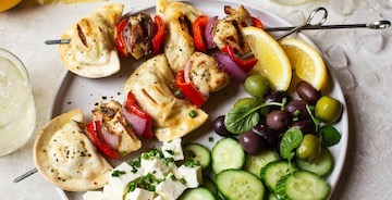 Grilled Greek Lemon Chicken Pierogy Skewers