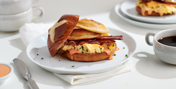 Pierogy, Bacon, Egg and Cheese Sandwich