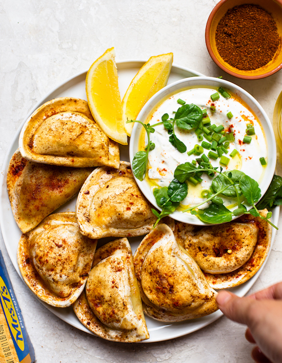 Berbere Spiced Sheet Pan Pierogies