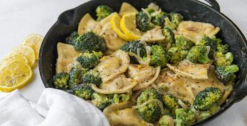 Lemon Broccoli Pierogy Skillet