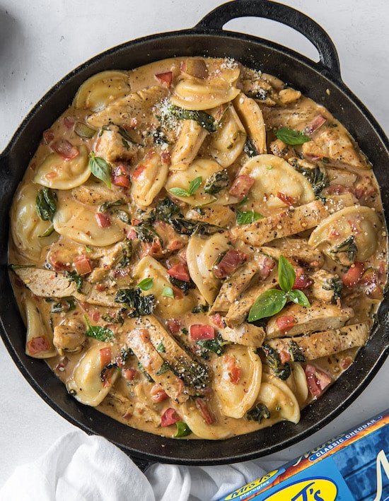 Tuscan Chicken Pierogy Skillet