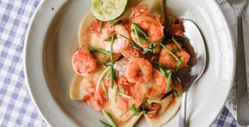 Tequila Lime Shrimp and Pierogies