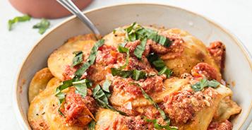 Baked Feta & Tomatoes Pierogies
