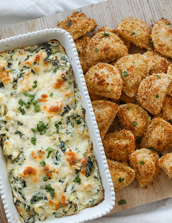 Spinach Artichoke Dip with Parmesan Crusted Pierogies