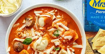 Tomato Basil Pierogy Soup