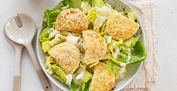 Caesar Salad with Pierogy Croutons