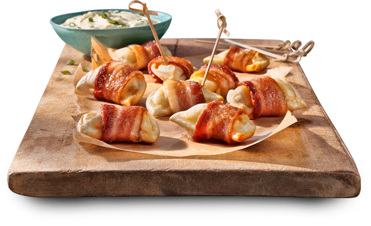 bacon-wrapped pierogies