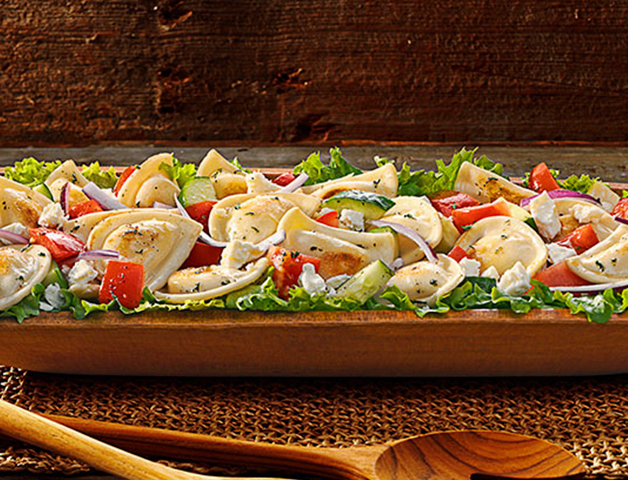 Farmers market mini pierogy salad
