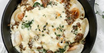 White Pizza Pierogy Skillet